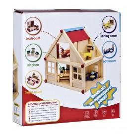 Domek dla lalek drewniany z meblami pod tęczą