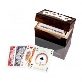 PIATNIK Karty Lux 2 talie w budełku drewnianym pionowym