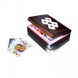 PIATNIK Karty Lux 2 talie w budełku drewnianym poziomym